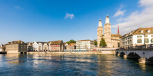 Switzerland, Canton Of Zurich, Zurich, River Limmat And Old Town Buildings Along Limmatquai Street