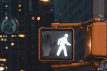 Pedestrian Light At Night, Manhattan, New York City, USA