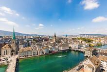 Switzerland, Canton Of Zurich, Zurich, River Limmat Flowing Through Old Town Of Zurich
