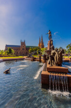 Australia, New South Wales, Sydney, J. F. Archibald Memorial Fountain, St Marys Cathedral In The Background