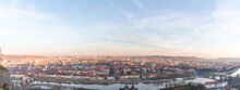 Germany, Bavaria, Wurzburg, Panorama Of Sky Over City River And Surrounding Buildings At Dusk