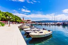 Boats Moored In Adriatic Sea Against Blue Sky At Krk, Croatia