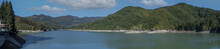 Brugneto Artificial Lake Dam Liguria Italy Panorama