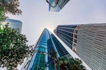 Australia, Brisbane, Low Angle View Of Skyscrapers