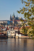 Czech Republic, Prague, Prague Castle And St. Vitus Cathedral Seen Across River