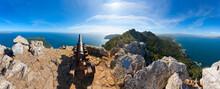 Spain, Balearic Islands, Mallorca, Peninsula Alcudia, Penya Del Migdia, View To Alcudia And Pollenca, Cannon