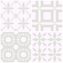 Tile Portugal Flower Seamless Pattern Set. Blue Color Geometric Background. Traditional Azulejo Repeat Ornament. Vector Monochrome Pattern Collection.Abstract Vintage Print For Fabric,packaging.