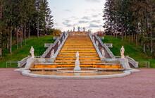 Golden Hill Cascade In Peterhof, St Petersburg, Russia
