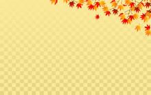 ゴールドの市松模様と紅葉の背景素材