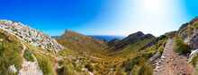 Spain, Balearic Islands, Mallorca, Peninsula Formentor, Panoramic View Of Hiking Trail Cami Vell Del Far