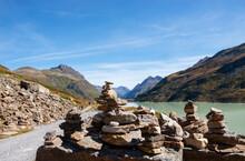 Austria, Vorarlberg, Bielerhoehe, Silvretta Reservoir, Cairns At Trail