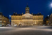 Netherlands, Amsterdam, Royal Palace Of Amsterdam At Night