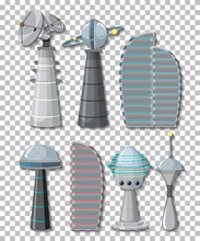Set Of Satellite Objects And Elements On