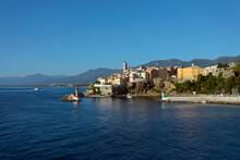 France, Corsica, Bastia, View Of Town And Mediteranean Sea