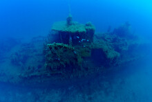 France, Corsica, Underwater View Of Alcione C Shipwreck - Italian Tanker Shelled And Sunk During World War II