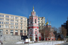 """Moscow, Russia - March, 2021:  Bell Tower And Church Of St. George On Pskov Hill In The Landscape Park """" Zaryadye"""""""