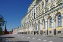 Moscow, Russia - May, 2021: Moscow Kremlin In Sunny Spring Day. Grand Kremlin Palace