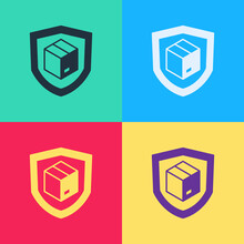 Pop Art Delivery Security With Shield Icon Isolated On Color Background. Delivery Insurance. Insured Cardboard Boxes Beyond The Shield. Vector