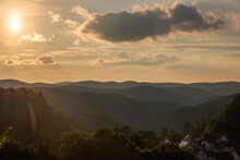 Magnificent Sunset Over The Hills In Upper Franconia / Germany In Late Summer