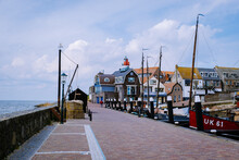 Old Harbor Of The Fishing Village Urk In Flevoland Netherlands, Beautiful Spring Day At The Former Island Of Urk Holland Europe May 2021