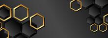 Abstract Web Background, Set Of Golden Hexagons On Dark Gray Background - Vector
