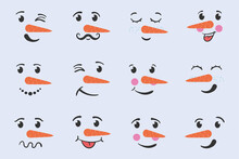 Christmas Snowman Faces Winter Hand Drawn Doodle.