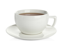 Cup Of Hot Drink And Saucer Isolated On White