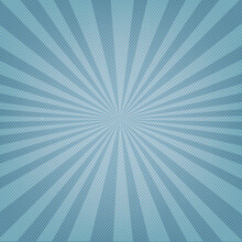 Blue Poster With Sunburst And Rays With Gradient Background, Vector Illustration