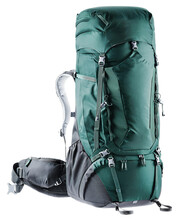 Hiking Backpack Isolated On White Background. Large Green Travel Rucksack With Many Zipper Pocket, Adjustable Back Size, Back Panel  And Reinforced Frame. Made Nylon With Raincover. Stabilizing System