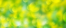 Abstract Blurred Green And Yellow Bokeh Background. Summer Colours.