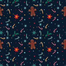 Christmas Seamless Pattern With Snowflakes, Candy, Christmas Star, Holly And Gingerbread Man On Blue Background