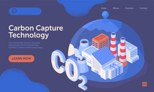 Carbon Capture Technology Research. CO2 Footprint Neutralize Development. Domed Glass Dish Catching Factory Smoke. Website, Web Page, Landing Page Template. Isometric Cartoon Vector Illustration