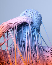 Gradient Bust Of Resilient Human Made Of Fiber