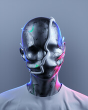 Metallic Bust Of Mended Person In Neon Lights