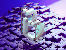 Abstract Deconstructed Digital Letter B
