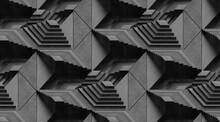 Black Monochromatic Textured Geometric Pattern