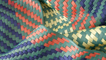 Colorful Materials Woven Into Hemmed Fabric