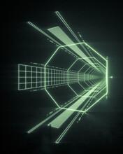 Vortex Tunnel Of Green Neon Lights