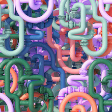 Layers Of Colorful Connected Pipes And Mesh Tubes