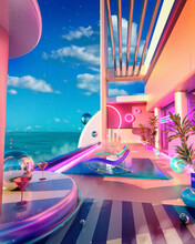 Surreal Retro-future Pool Lounge With Neon Signs And Cocktails