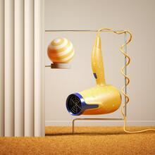 Arrangement Of A Colorful Hairdryer Hanging In A Retro Apartment