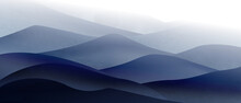 Background With Art Image Of Mountains And Hills In The Fog In Calm Cool Colors For Interior Decor Or Web Banner