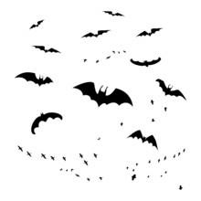 Horror Bats Group Isolated On White Background. Flittermouse, Night Creatures Flock. Silhouettes Of Flying Bats. Horrific Swarm Bats. Halloween Scary Creepy Vampire Animals. Stock Vector Illustration