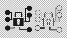 Black Cyber Security Icon Isolated On Transparent Background. Closed Padlock On Digital Circuit Board. Safety Concept. Digital Data Protection. Vector
