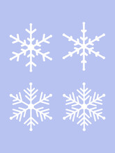 Set Of Snowflake Symbol Isolated On Purple Blackground. Vector Illustration Of Winter And Christmas Ornarment Element.