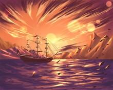 Tha Sailboat At Orange Sunset