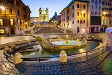 The Wonderful Landscape That Offers Piazza Di Spagna In Rome With The Famous Staircase Of Trinita Dei Monti And The Fountain Of The Barcaccia