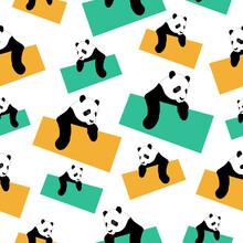 Seamless Pattern Of Cute Panda Image On White Background
