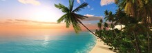 Beach With Palm Trees At Sunset, Tropical Lagoon With Palm Trees In The Sun, 3D Rendering