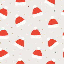 Seamless Christmas Hat Pattern. Perfect For Christmas Cards, Decorations, Invitations, Banners, Labels, Gift Paper. Festive, Cozy Atmosphere.